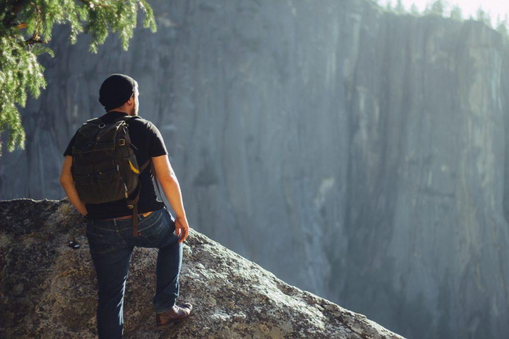 guy hiking in yosemite