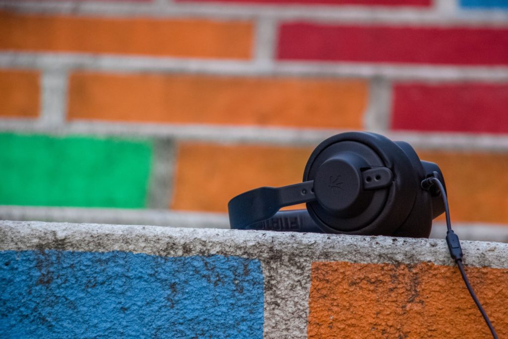 headphones on colorful steps