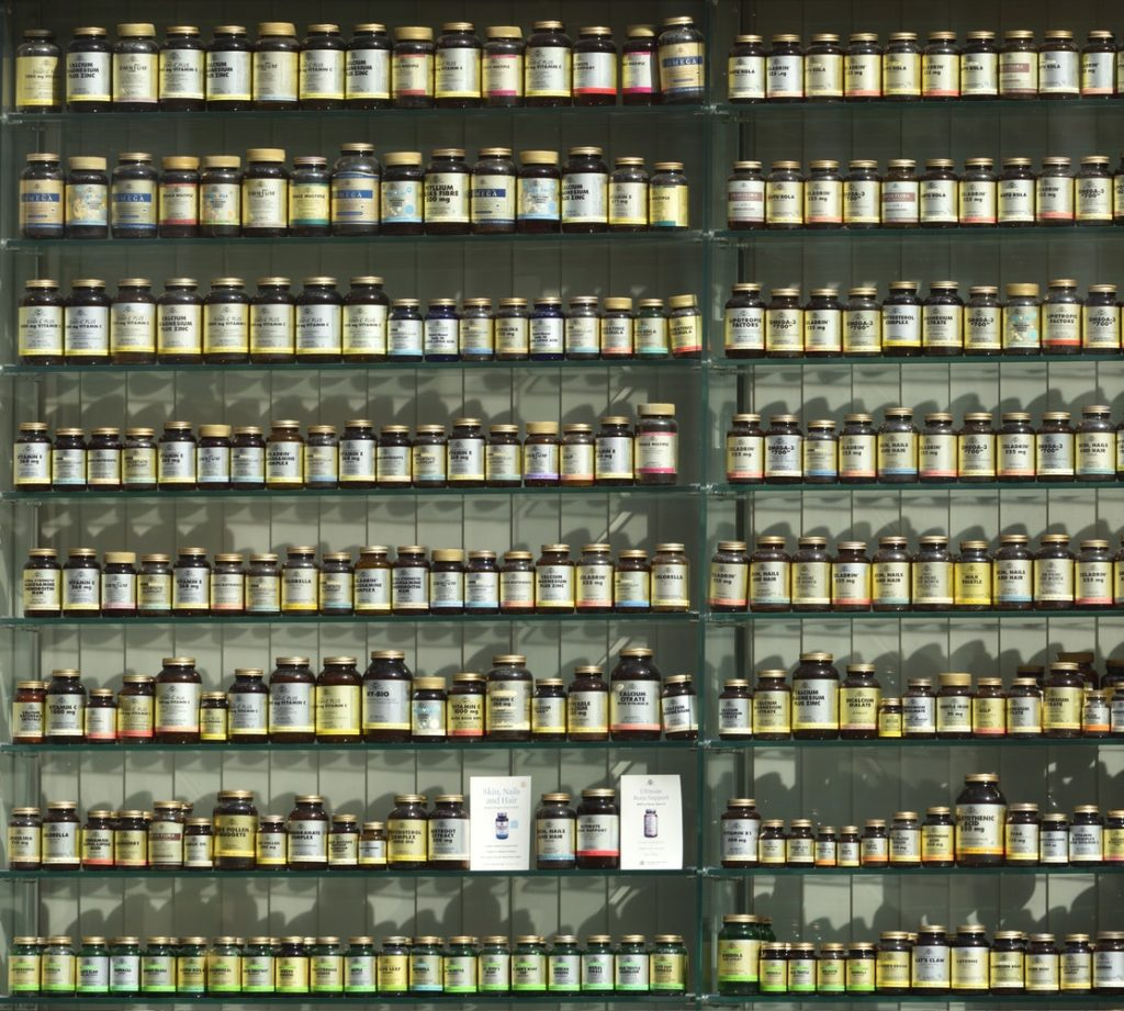 supplements on a shelf