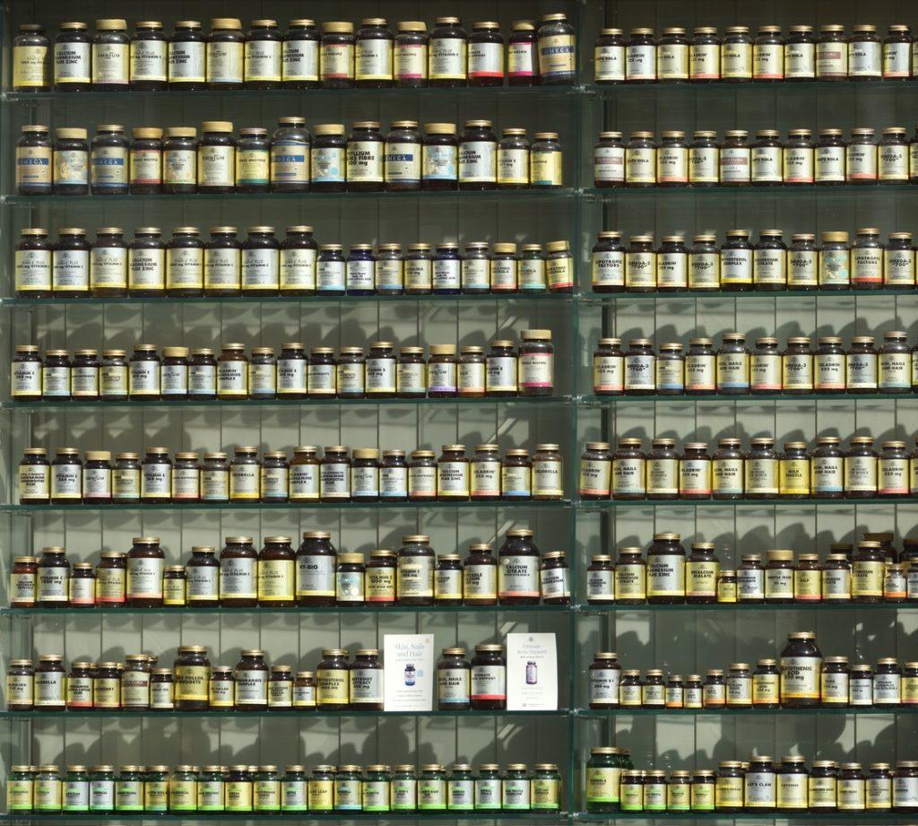supplements on a shelf