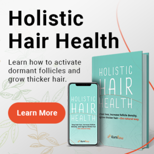 An ebook shown on an iPone screen and a traditional book, Holistic Hair Health eBook - Click to learn more